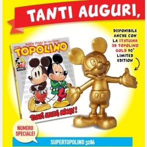 Topolino N° 3286 + Statuina 3D Topolino Gold 90° Limited E...