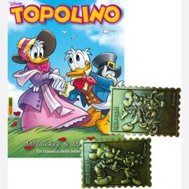Topolino N° 3292 + 7° e 8° Francobollo in metallo